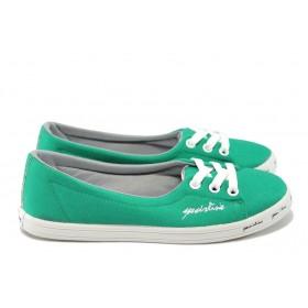 Равни дамски обувки - висококачествен текстилен материал - зелени - EO-6498