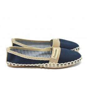 Равни дамски обувки - висококачествен текстилен материал - тъмносин - EO-6491