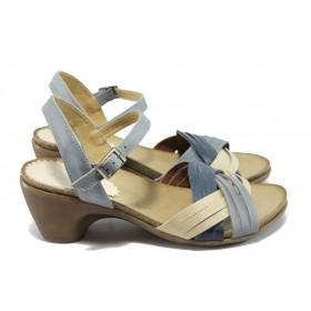 Дамски сандали - естествена кожа - сини - EO-6547
