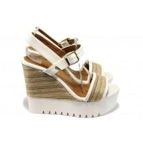 Дамски сандали - еко-кожа с текстил - бели - EO-6552