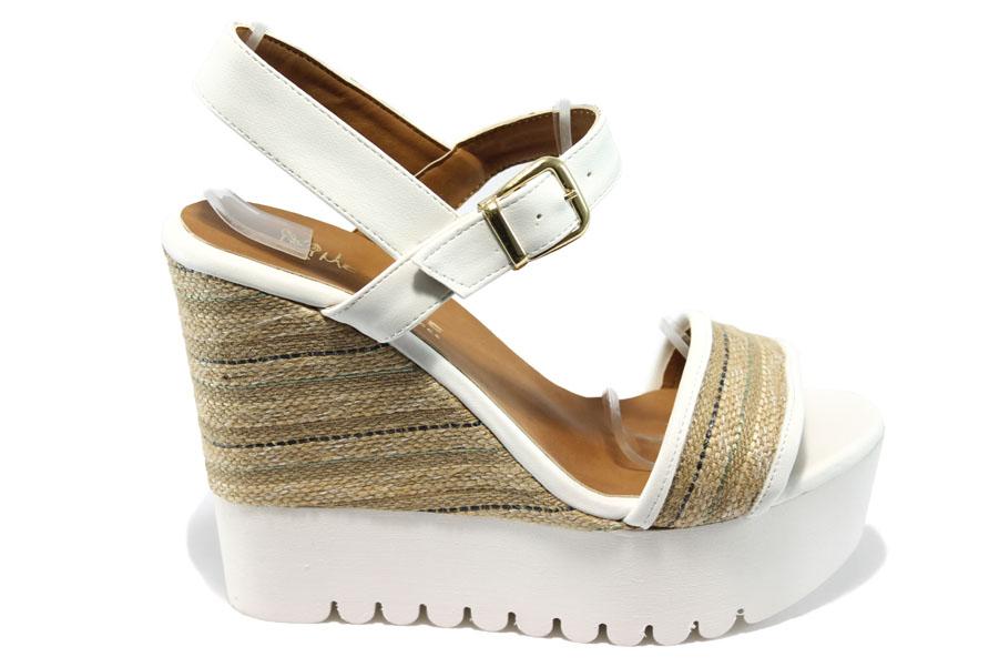 0e8402c2bd0 Дамски сандали - еко-кожа с текстил - бели - EO-6552
