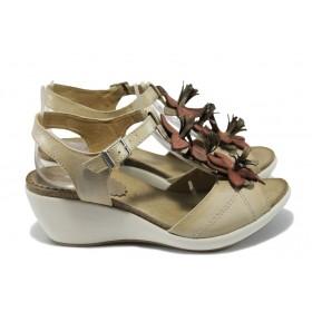 Дамски сандали - естествена кожа - бежови - EO-6551