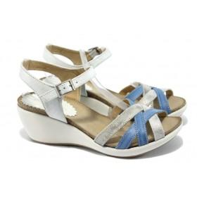 Дамски сандали - естествена кожа - сини - EO-6548