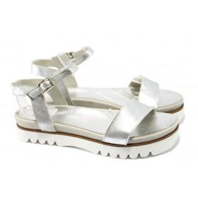 Дамски сандали - естествена кожа - сиви - EO-6562