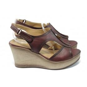 Дамски сандали - висококачествена еко-кожа - бордо - EO-6541