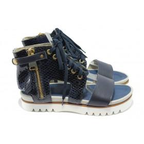 """Дамски сандали - естествена кожа с """"кроко"""" мотив - сини - EO-6563"""