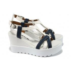 Дамски сандали - висококачествена еко-кожа - бели - EO-6564
