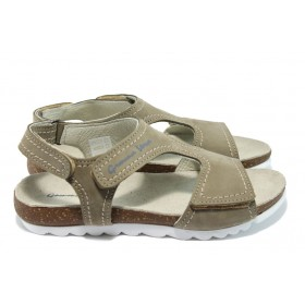 Дамски сандали - естествена кожа - бежови - EO-6557