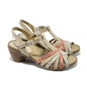 Дамски сандали - естествена кожа - корал - EO-6567