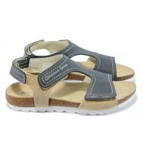 Дамски сандали - естествена кожа - тъмносин - EO-6558