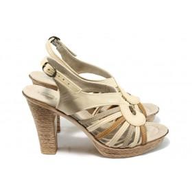 Дамски сандали - естествена кожа - бежови - EO-6559