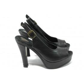 Дамски сандали - естествена кожа - черни - EO-6556