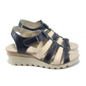 Дамски сандали - естествена кожа - сини - EO-6560
