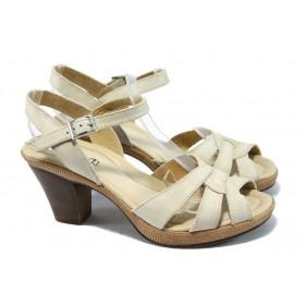Дамски сандали - естествена кожа - бежови - EO-6576