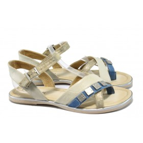 Дамски сандали - естествена кожа - бежови - EO-6575