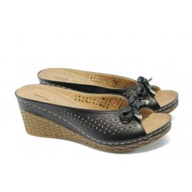 Дамски чехли - висококачествена еко-кожа - черни - EO-6570