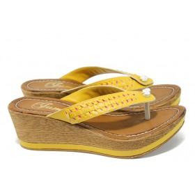Дамски чехли - висококачествена еко-кожа - жълти - EO-6574