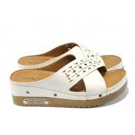Дамски чехли - висококачествена еко-кожа - бели - EO-6581