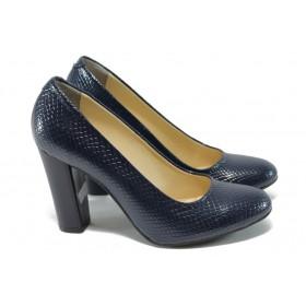 """Дамски обувки на висок ток - еко-кожа с """"кроко"""" мотив - сини - EO-8503"""