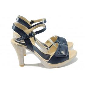 Дамски сандали - висококачествена еко-кожа - сини - EO-6597
