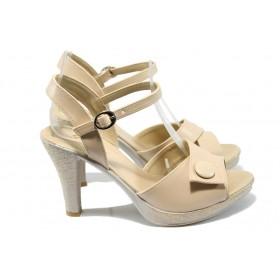 Дамски сандали - висококачествена еко-кожа - бежови - EO-6599