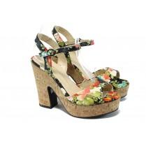 Дамски сандали - висококачествена еко-кожа - черни - EO-6600