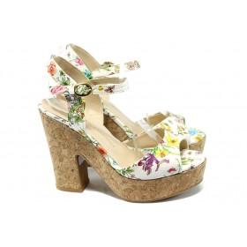Дамски сандали - висококачествена еко-кожа - бели - EO-6601