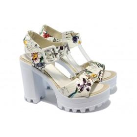 Дамски сандали - висококачествена еко-кожа - бели - EO-6604