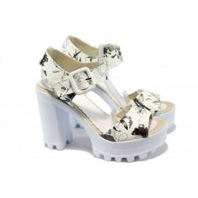 Дамски сандали - висококачествена еко-кожа - бели - EO-6603