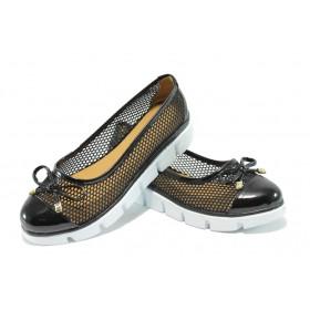 Дамски обувки на платформа - дантела - черни - EO-6605