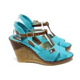 Дамски сандали - висококачествен текстилен материал - сини - EO-6608