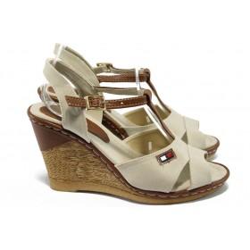 Дамски сандали - висококачествен текстилен материал - бежови - EO-6609