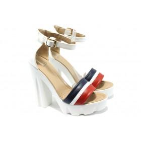 Дамски сандали - висококачествена еко-кожа - бели - EO-6613