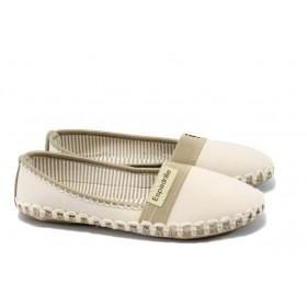 Равни дамски обувки - висококачествен текстилен материал - бежови - EO-6622