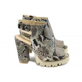 Дамски сандали - висококачествена еко-кожа - бежови - EO-6621