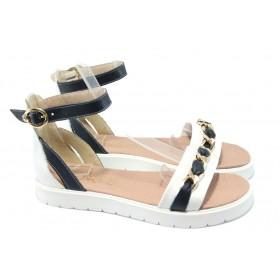 Дамски сандали - естествена кожа - сини - EO-6620