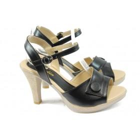 Дамски сандали - висококачествена еко-кожа - черни - EO-6619