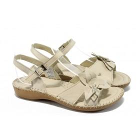 Дамски сандали - естествена кожа - бежови - EO-6627
