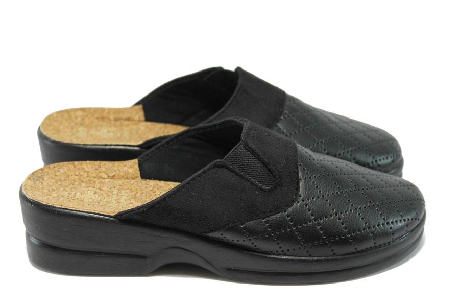 Дамски чехли - висококачествена еко-кожа и велур - черни - МА 19164 черен
