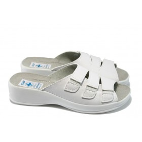 Дамски чехли - висококачествена еко-кожа - бели - МА 13943 бял