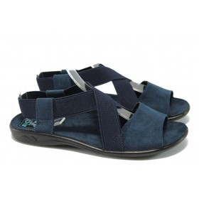 Дамски сандали - висококачествен текстилен материал - сини - МА 17497 син