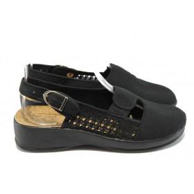 Дамски сандали - висококачествен текстилен материал - черни - МА 9610 черен
