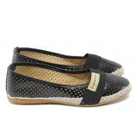 Равни дамски обувки - висококачествена еко-кожа - черни - МИ 25 черен