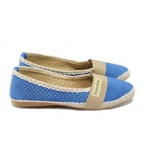 Равни дамски обувки - висококачествена еко-кожа - сини - МИ 25 син