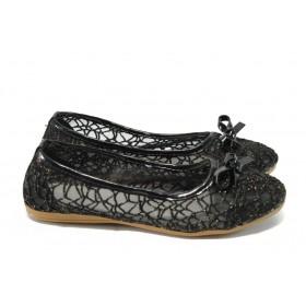 Равни дамски обувки - висококачествен текстилен материал - черни - МИ 26 черен