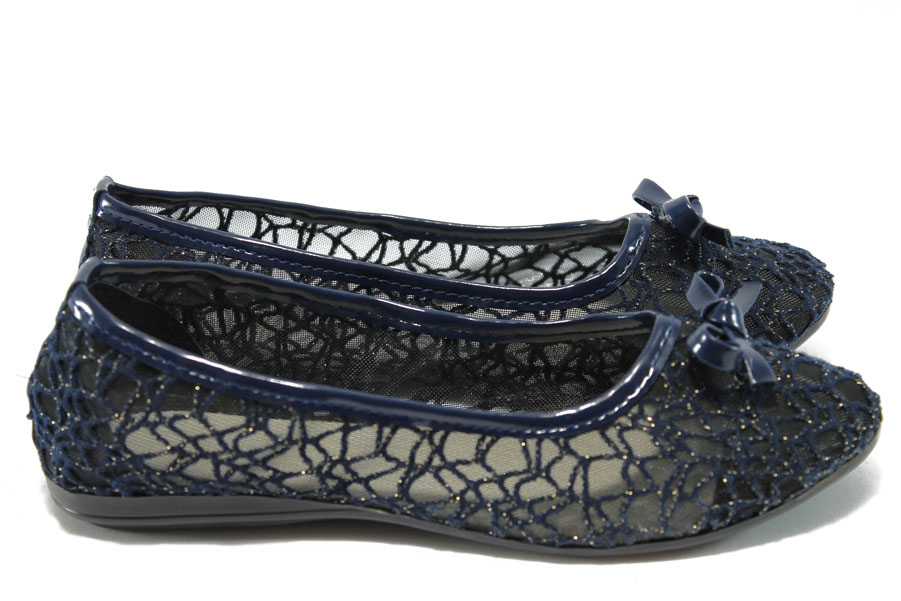 Равни дамски обувки - висококачествен текстилен материал - сини - МИ 26 син