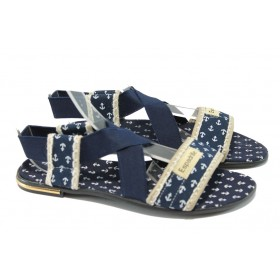 Дамски сандали - висококачествен текстилен материал - сини - МИ 24 син