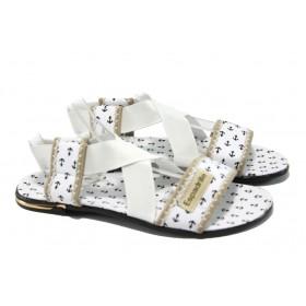 Дамски сандали - висококачествен текстилен материал - бели - МИ 24 бял