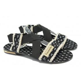 Дамски сандали - висококачествен текстилен материал - черни - МИ 24 черен