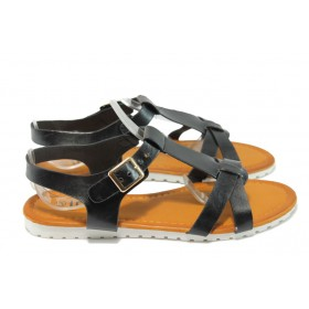 Дамски сандали - висококачествена еко-кожа - черни - РС 9773 черен